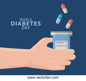 world diabetes day campaign with hand lifting bottle drugs