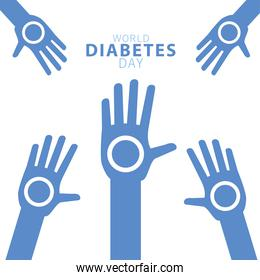 world diabetes day campaign with hands human around