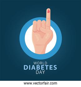 world diabetes day campaign with blood drop in finger