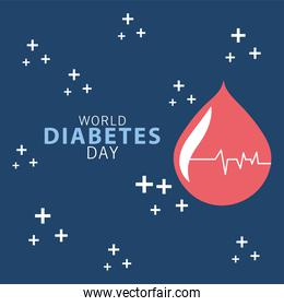 world diabetes day campaign with blood drop and cardiac line