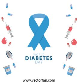 world diabetes day campaign with blue ribbon and set icons frame