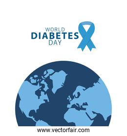 world diabetes day campaign with blue ribbon and earth