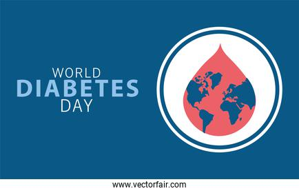 world diabetes day campaign with earth planet in blood drop