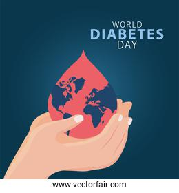 world diabetes day campaign with hands lifting earth planet in blood drop