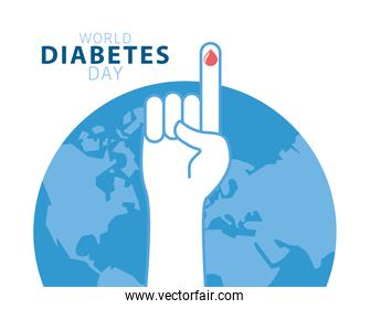 world diabetes day campaign with earth planet and blood drop in finger
