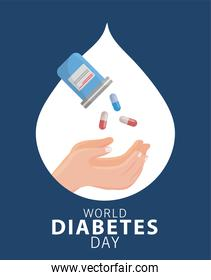 world diabetes day campaign with bottle drugs and hands receiving