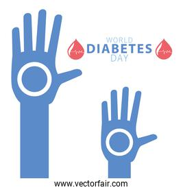 world diabetes day campaign with blood drops and hands