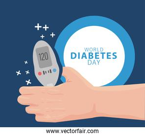 world diabetes day campaign with hand lifting glucose meter