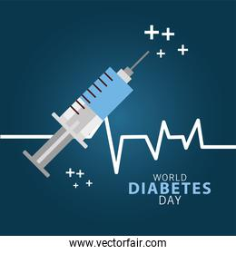 world diabetes day campaign with syringe and line pulse