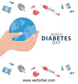 world diabetes day campaign with hands lifting earth planet