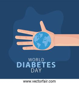 world diabetes day campaign with hand lifting earth planet
