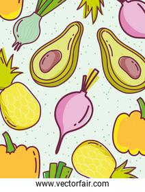 food seamless pattern slice avocados radish pineapple and pumpkin diet nature