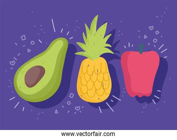 food fresh vegetable and fruit pepper avocado and pumpkin
