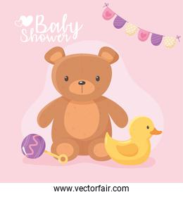 baby shower, kids toy teddy bear duck and rattle