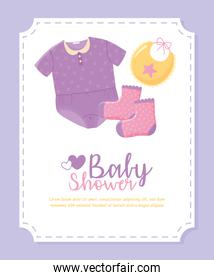 baby shower, small clothes bodysuit bib and socks