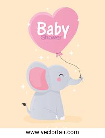 baby shower, cute little elephant with heart balloon