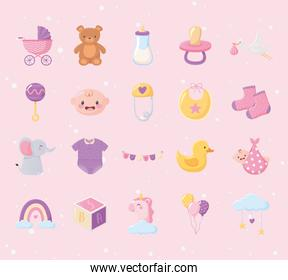 baby shower, set icons include pram bear rattle cube duck toys and more