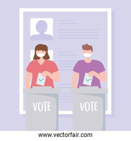 voting and election, people with medical mask putting ballot in boxes