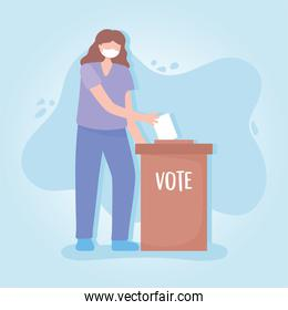 voting and election, young woman with protective mask inserting ballot in box