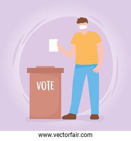 voting and election, guy with medical mask ballot and box