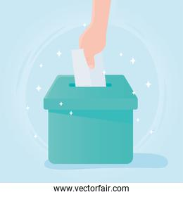 voting and election, hand paper vote in box