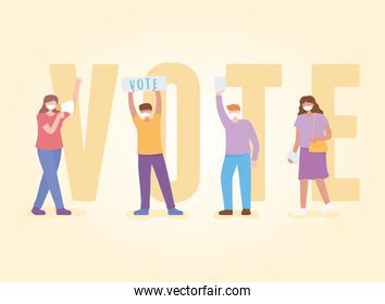 voting and election, people with mask in campaign with loudspeaker and the word vote