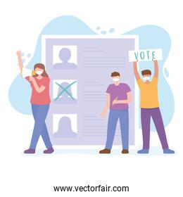 voting and election, people with mask in campaign, candidates list
