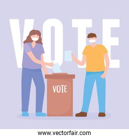 voting and election, couple with mask and vote paper and cardboard box