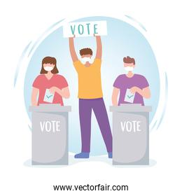 voting and election, people with mask board vote and ballots