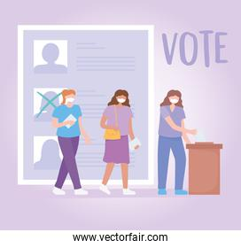 voting and election, people with masks choosing candidates