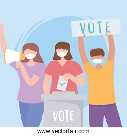 voting and election, people with mask give vote and putting paper vote in to the ballot box