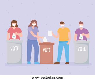 voting and election, group people with masks putting paper ballots