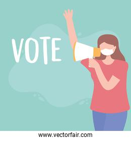 voting and election, young woman with mask and megaphone