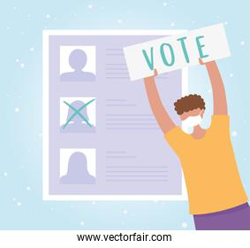 voting and election, man with mask and paper vote, candidates list