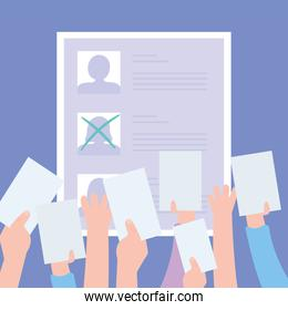 voting and election, candidates list one selected, hands with ballots