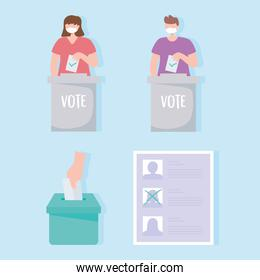 voting and election, people with medical mask putting vote, candidate list, and box with vote