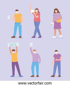 voting and election, set icons people with masks, megaphone and ballots vote