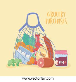 full cloth string bag of food, grocery purchases