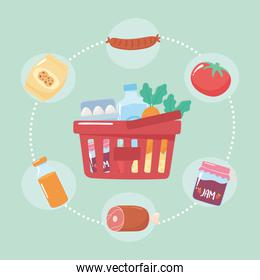 plastic basket full products market, grocery purchases