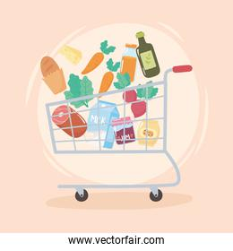 falling goods in the shopping cart, grocery purchases
