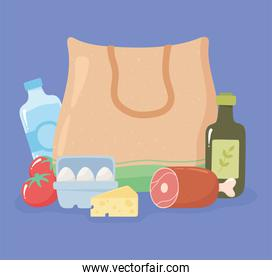 shopping bag textile with ham leg, olive oil, eggs, cheese, grocery purchases