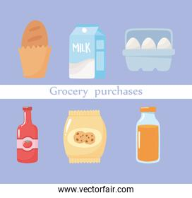 grocery purchases bread, eggs, juice, biscuits, tomato and sauce