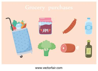 grocery purchases cart with food include jam broccoli water and more