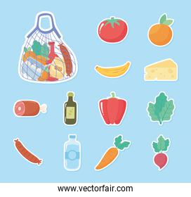grocery purchases icons stickers tomato orange pepper carrot