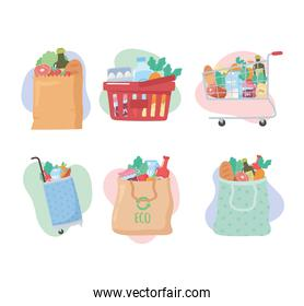 grocery purchases, set icons with basket, cart, bags with food