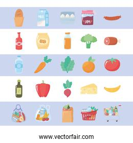 grocery purchases, food organic fruits and vegetable and products from market