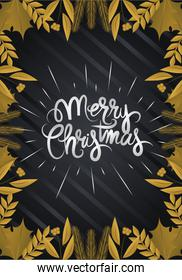 merry christmas, golden leaves branch decoration and lettering
