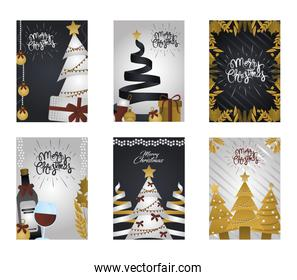 merry christmas, greeting cards celebration event season with golden decorations
