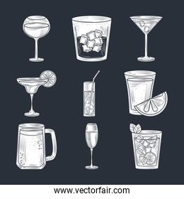 set of cocktails, beer wine and alcohol drink, thin line style icons