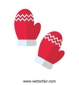 happy merry christmas gloves flat style icon